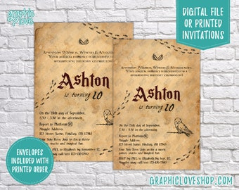 Magic Wizard Witch Letter Style Personalized Birthday Invitations, Any Age | 4x6 or 5x7, Digital JPG File or Printed FREE US Shipping