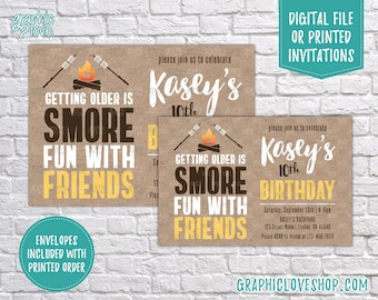 Smore Fun with Friends Fall Bonfire Personalized Birthday Invitation, Any Age | 4x6 or 5x7, Digital File or Printed, FREE US Shipping