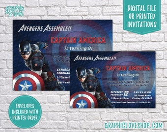 Personalized Captain America Marvel Avengers Birthday Invitation, Any Age  | 4x6 or 5x7, Digital or Printed, FREE USA Shipping, Envelopes