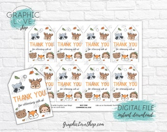 Digital File Woodland Animals Printable Birthday Party Thank You Tags, Fall Autumn | High Resolution JPG, Instant Download, Ready to Print