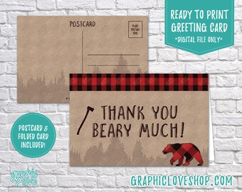 Digital 4x6 Lumberjack Rustic Thank You Card, Folded & Postcard | High Res 300dpi JPG Files, Instant Download, NOT Editable, Ready to Print