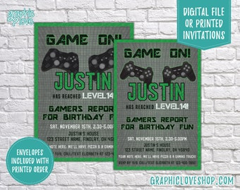 Personalized Game On Playstation or Xbox Gaming Teen Birthday Invitation, Any Age | 4x6 or 5x7, Digital File or Printed, FREE USA Shipping