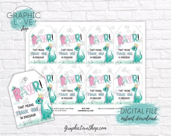 Digital Cute Princess Dinosaur Pink and Teal Birthday Printable Thank You Tags | High Resolution JPG File, Instant Download, Ready to Print