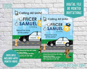 Police Officer Car & German Shepherd Personalized Birthday Invitation, Any Age | 4x6 or 5x7, Digital File or Printed, FREE US Shipping