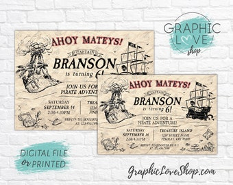 Personalized Vintage Pirate Ship Birthday Invitation for Any Age | 4x6 or 5x7, Digital JPG File or Printed, FREE US Shipping