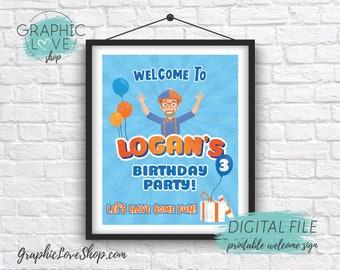 Digital File 8x10 Blippi Orange and Blue Personalized Birthday Party Welcome Sign | Printable High Resolution JPG Made To Order