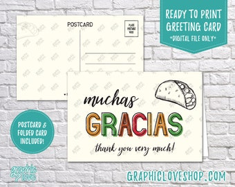 Digital 4x6 Muchas Gracias Taco Thank You Card, Folded & Postcard | 300dpi JPG Files, Instant Download, NOT Editable, Ready to Print