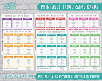 Digital Scripture Taboo Game 54 Cards   Vacation Bible School   PDF File, Instant download, NOT Editable, Ready to Print