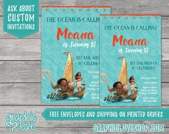 Personalized Moana and Maui Birthday Invitation, Any Age | Disney Princess, Demi God | 4x6 or 5x7, Digital JPG or Printed, FREE US Shipping
