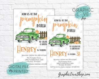 Personalized Green Truck Pumpkin Patch Fall Autumn Birthday Party Invitation, Any Age | 4x6 or 5x7 Digital File or Printed, FREE US Shipping