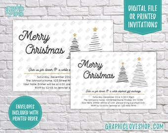 Personalized Modern Black & White Christmas Party Invitation, Potluck White Elephant | 4x6 or 5x7, Digital File or Printed, FREE US Shipping