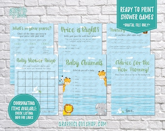 Digital Set of 6, 5x7 Noah's Ark Baby Shower Games & Advice for Mom Card, Made to Match | PDF File, Instant Download, Ready to Print