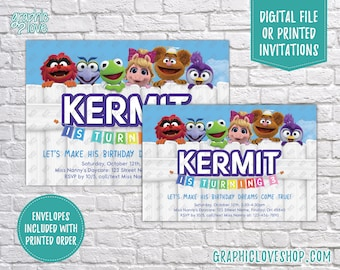 Personalized Muppet Babies Disney Junior Birthday Invitation, Any Age | 4x6 or 5x7, Digital JPG File or Printed, FREE US Shipping