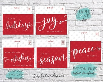 Digital Red and White Sparkle Christmas Cards, Set of 5 designs, Folded & Postcard Included | PDF, Instant Download, Ready to Print