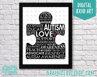 Printable 8x10 Austism Awareness Words Puzzle Black & White Digital Art Print | High Resolution JPG File, Instant Download, Ready to Print