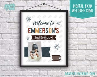 Digital 8x10 Winter Hot Cocoa Theme Personalized Birthday Welcome Sign with Photo | Made to Order, Printable High Resolution JPG File