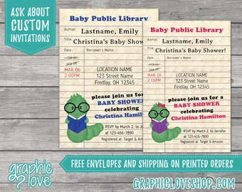 Personalized Bookworm Library Card Boy or Girl Baby Shower Invitation | 4x6 or 5x7, Digital or Printed, FREE US Shipping & Envelopes