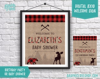 Digital 8x10 Rugged Lumberjack Personalized Party Welcome Sign, Baby Shower or Birthday Options | Printable High Resolution JPG File