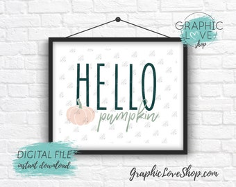 Digital File 8x10 Hello Pumpkin Modern Unique Fall Autumn Art Print | High Resolution 300dpi JPG File, Instant Download, Ready to Print