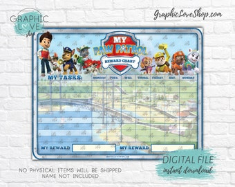 Digital Paw Patrol Blank Tasks Printable Reward Chart, Nick Junior | High Resolution JPG File, Instant download NOT Editable, Ready to Print