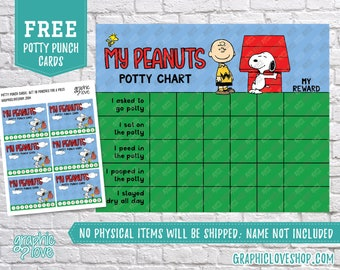 Digital Peanuts Snoopy Potty Training Chart, FREE Punch Cards | High Resolution JPG Files, Instant download, NOT Editable, Ready to Print