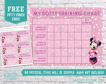 Digital Minnie Mouse Potty Training Chart, FREE Punch Cards | Disney Jr | High Res JPG File, Instant download, NOT Editable, Ready to Print
