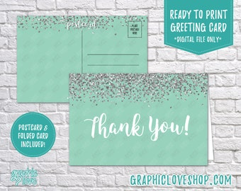 Digital 4x6 Mint Silver Glitter Thank You Card, Folded & Postcard Included | High Res 300dpi JPG Files, Instant Download, Ready to Print