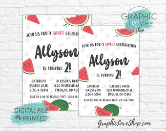 Personalized Cute Sweet Celebration Watermelon Birthday Invitation, Any Age | 4x6 or 5x7, Digital File or Printed, FREE US Shipping