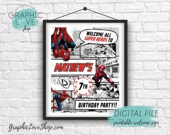 Digital File 8x10 Spiderman Comic Panel Personalized Birthday Party Welcome Sign, Any Age | Printable High Resolution JPG, Made To Order