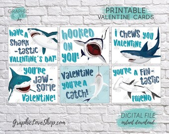 Digital File Funny Shark Printable Valentine's Day Cards, 6 different designs | High Resolution JPG File, Instant Download, Ready to Print