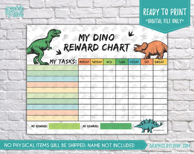 Featured listing image: Digital Colorful Dinosaur Printable Reward Chart with Blank Tasks | High Resolution JPG File, Instant download NOT Editable, Ready to Print