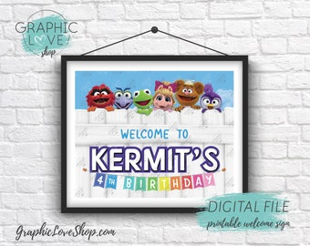 Digital 8x10 Muppet Babies Personalized Birthday Party Welcome Sign Disney Junior | Printable High Resolution JPG File, Made To Order