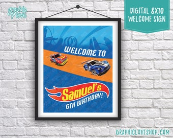 Digital 8x10 Hot Wheels Race Track Personalized Birthday Party Welcome Sign, with Age | Printable High Resolution JPG File, Made To Order