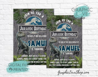 Jurassic World Raptor Personalized Birthday Invitation, Any Age | 4x6 or 5x7, Digital JPG File or Printed, FREE US Shipping & Envelopes