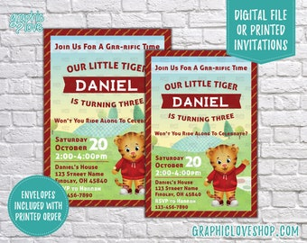 Personalized Daniel Tiger's Neighborhood Birthday Invitations, Any Age | 4x6 or 5x7, Digital File or Printed, FREE US Shipping, Envelopes