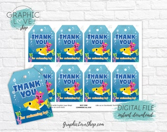 Digital File Baby Shark Colorful Under the Sea Printable Birthday Party Thank You Tags | High Resolution JPG Instant Download Ready to Print