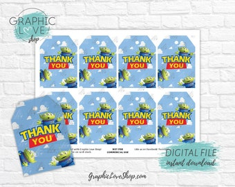 Digital Toy Story Alien with Andy's Clouds Printable Birthday Thank You Tags | High Resolution JPG File, Instant Download, Ready to Print
