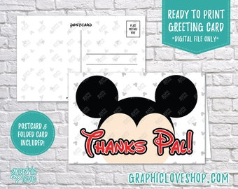 Digital 4x6 Mickey Mouse, Thanks Pal, Thank You Card, Folded & Postcard Included   High Resolution JPG Files Instant Download Ready to Print