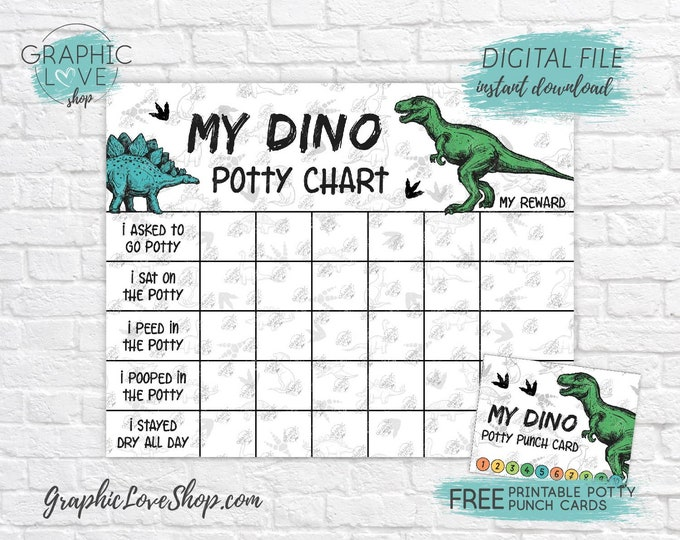Featured listing image: Digital Dinosaur Potty Training Chart, FREE Punch Cards, Print Yourself | High Res JPG Files, Instant download, NOT Editable, Ready to Print