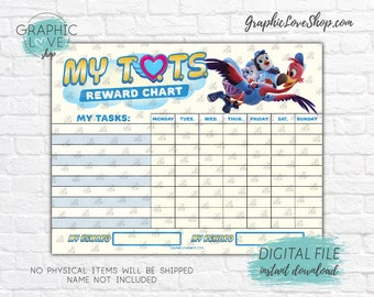 Digital File T.O.T.S. Disney Junior Blank Printable Reward Chart | High Resolution JPG, Instant download NOT Editable, Ready to Print