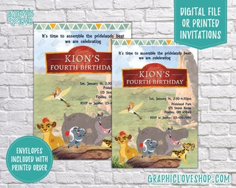 Lion Guard Personalized Birthday Invitations, Any Age | Lion King, Kion, Pride Land | 4x6 or 5x7, Digital File or Printed, FREE US Shipping