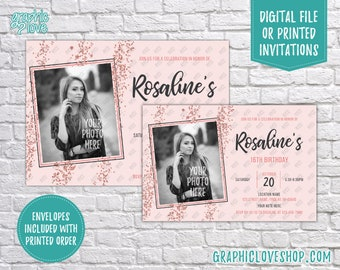 Personalized Rose Gold Pink Photo Birthday Invitation, Any Age | 4x6 or 5x7, Digital File or Printed, FREE US Shipping & Envelopes