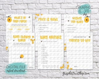 Digital 5x7 Sweet Honey Bee Theme Baby Shower Game Pack, Wishes for Baby, Advice for Mom | Printable PDF, Instant Download, Ready to Print
