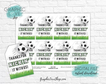 Digital Thanks for Kickin' It With Us Soccer Printable Birthday Thank You Tags | High Resolution JPG File, Instant Download, Ready to Print