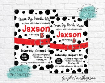 Personalized Dalmatian Drive by Birthday Parade Invitation, Any Age | 4x6 or 5x7, Digital File or Printed, FREE US Shipping Envelopes