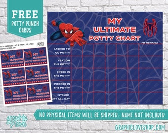 digital marvel ultimate spiderman potty training chart free punch cards high res jpg files instant download not editable ready to print