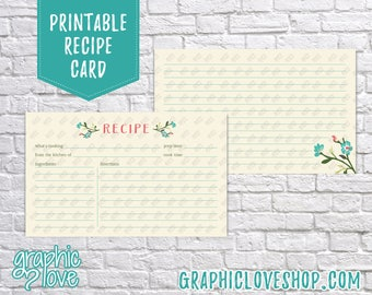 Digital 3x5 Pink and Teal Floral Double Sided Printable Recipe Card   High Resolution JPG Files, Instant Dowload, Ready to Print