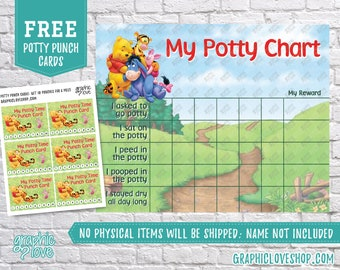 Digital Winnie the Pooh Disney Potty Training Chart, FREE Punch Cards | High Res JPG Files, Instant download, NOT Editable, Ready to Print