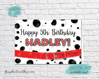 Digital 8x10 Dalmatian Dog Red Personalized Happy Birthday Card with Name and any age | Printable High Resolution JPG File, Made To Order