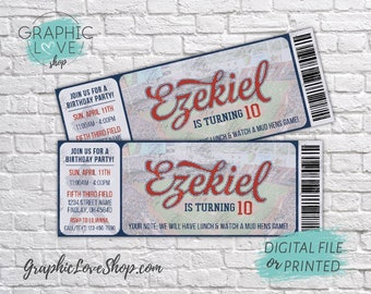 "Personalized Baseball Ticket Birthday Invitation 5.5""x2"", for Any Age 